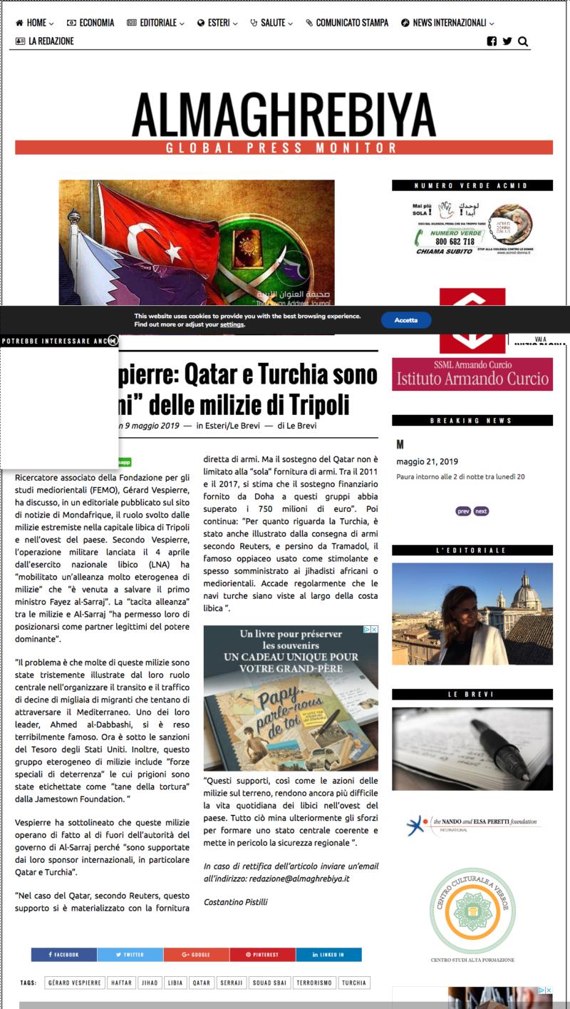 Gérard Vespierre Qatar e Turchia sono i padrini delle milizie di Tripoli