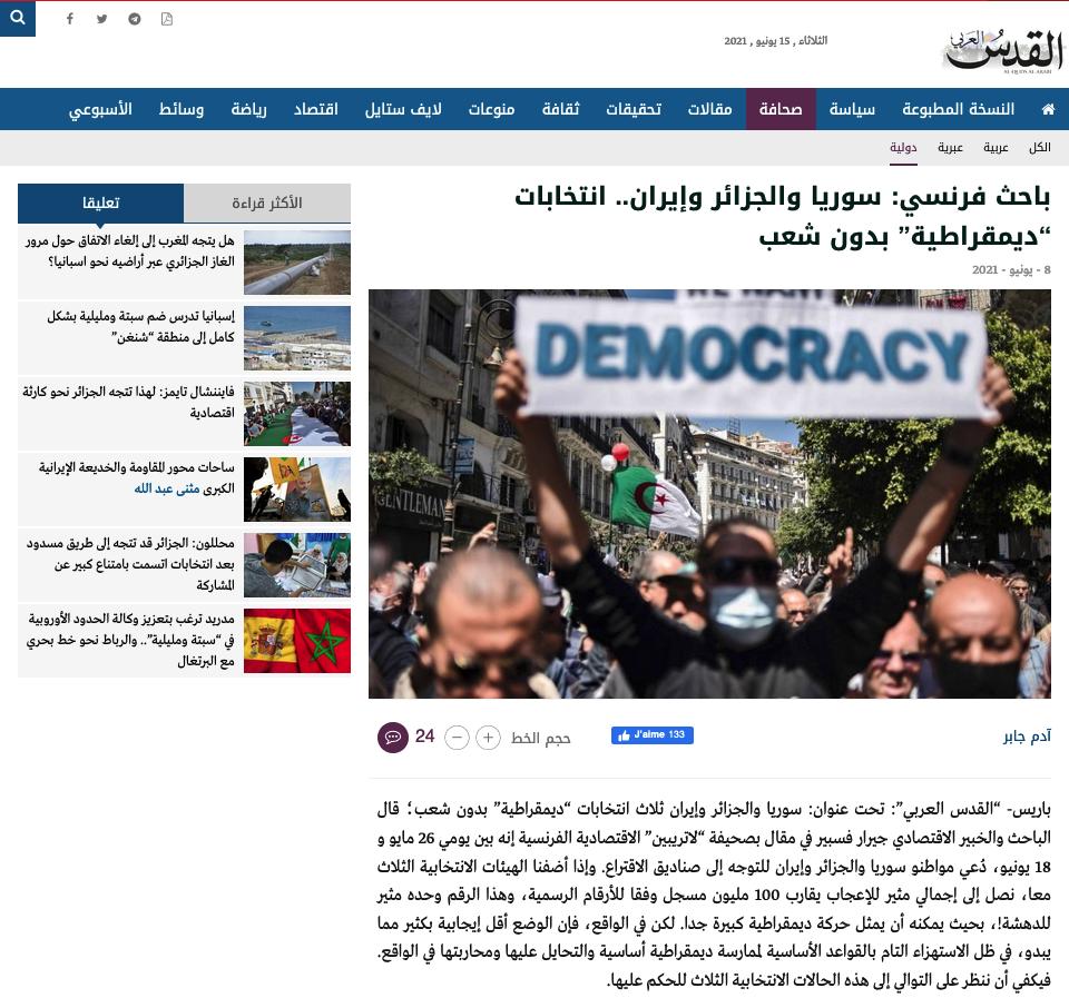 reprise article La Tribune Iran Algérie Syrie